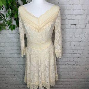 Free People Ivory Lace Layered 3/4 Sleeve Dress LG